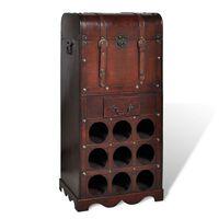 vidaXL Stojan na víno dřevěný na 9 lahví, s úložným prostorem