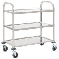 vidaXL 3patrový kuchyňský vozík 107 x 55 x 90 cm nerezová ocel