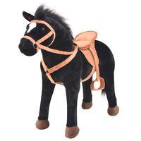 vidaXL Stojící hračka kůň plyšový černý