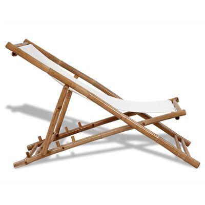 vidaXL Zahradní lehátko bambus a plátno, Bílá