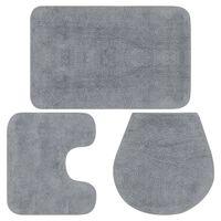 vidaXL Sada koupelnových předložek 3 kusy textilní šedá