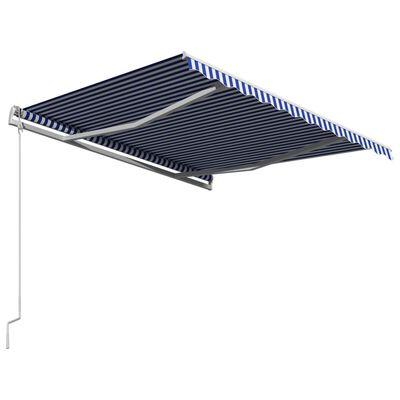 vidaXL Automatická zatahovací markýza 350 x 250 cm modrobílá