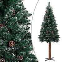 vidaXL Úzký vánoční stromeček pravé dřevo a bílý sníh zelený 180 cm