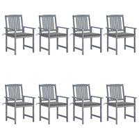 vidaXL Zahradní židle s poduškami 8 ks masivní akáciové dřevo šedé