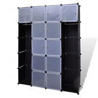 vidaXL Modulární skříň s 14 přihrádkami černobílá 37 x 146 x 180,5 cm