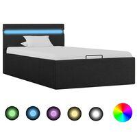 vidaXL Rám postele s úložným prostorem LED tmavě šedý textil 90x200 cm