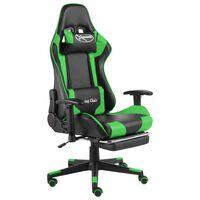 vidaXL Otočná herní židle s podnožkou zelená PVC