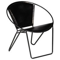 vidaXL Židle černá pravá kůže