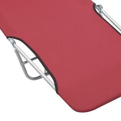 vidaXL Skládací zahradní lehátka 2 ks ocel a látka červená