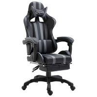 vidaXL Herní židle s podnožkou šedá umělá kůže