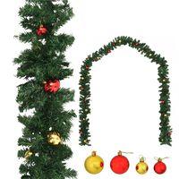 vidaXL Vánoční girlanda zdobená baňkami 10 m