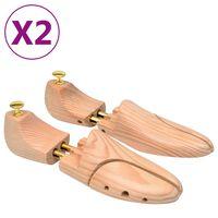 vidaXL Napínáky do bot 2 páry velikost 40–41 masivní borové dřevo