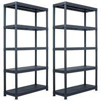 vidaXL Skladové regály 2 ks černé 250 kg 80 x 40 x 180 cm plastové