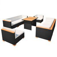vidaXL 10dílná zahradní sedací souprava s poduškami polyratan černá