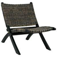vidaXL Relaxační křeslo černé přírodní ratan kubu a masivní mahagon
