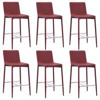 vidaXL Barové stoličky 6 ks vínové umělá kůže