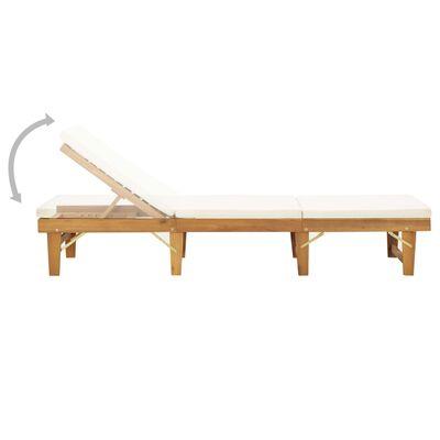 vidaXL Skládací lehátko s polštářem masivní akáciové dřevo