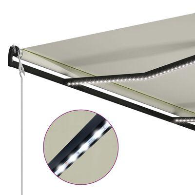 vidaXL Zatahovací markýza senzor větru a LED světlo 300x250 cm krémová