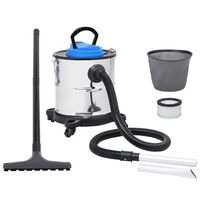 vidaXL Ash Vacuum Cleaner with Tube and Brush Stainless Steel (147679+147682)
