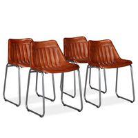 vidaXL Jídelní židle 4 ks hnědé pravá kůže