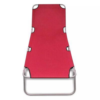 vidaXL Skládací opalovací lehátko práškovaná ocel červené