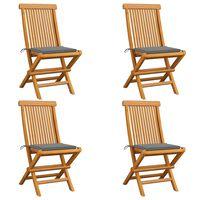 vidaXL Zahradní židle s šedými poduškami 4 ks masivní teak