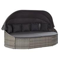 vidaXL Zahradní postel s baldachýnem polyratan šedá