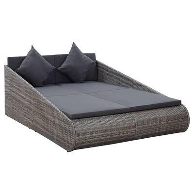vidaXL Zahradní postel šedá 200 x 139 cm polyratan