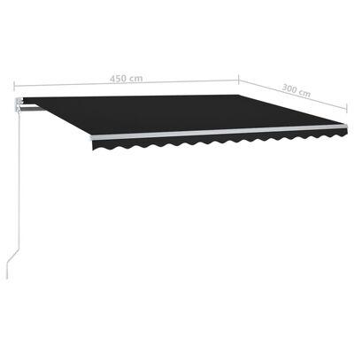 vidaXL Automatická markýza LED a senzor větru 450 x 300 cm antracitová