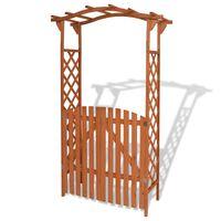 vidaXL Zahradní oblouk s brankou, masivní dřevo 120x60x205 cm