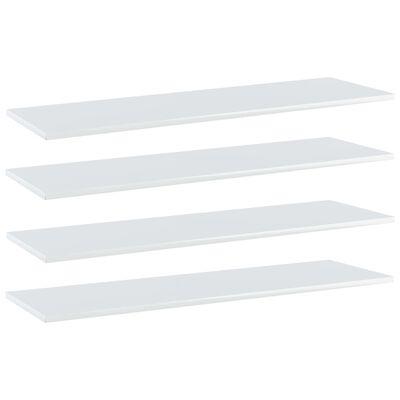 vidaXL Přídavné police 4 ks bílé vysoký lesk 100x30x1,5 cm dřevotříska