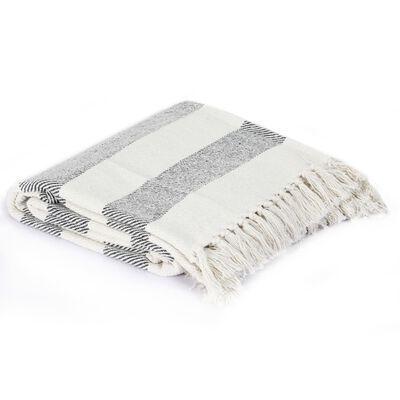vidaXL Přehoz bavlna pruhovaný 160 x 210 cm antracitový