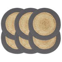 vidaXL Prostírání 6 ks přírodní a antracitové 38 cm juta a bavlna