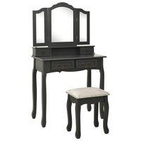 vidaXL Toaletní stolek se stoličkou šedý 80 x 69 x 141 cm pavlovnia