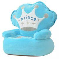 vidaXL Plyšové dětské křeslo Prince modré