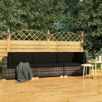 vidaXL 3dílná zahradní sedací souprava s poduškami polyratan šedá
