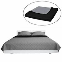 Oboustranný prošívaný přehoz na postel černo-šedý 170 x 210 cm
