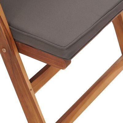 vidaXL Polohovací zahradní židle s poduškami 2 ks masivní teak šedé