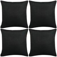 vidaXL Povlaky na polštářek 4 ks se vzhledem lnu černé 80x80 cm