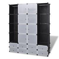 vidaXL Modulární skříň s 18 přihrádkami černobílá 37 x 146 x 180,5 cm