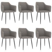 vidaXL Jídelní židle 6 ks světle šedé textil
