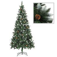 vidaXL Umělý vánoční stromek se šiškami a bílými třpytkami 210 cm