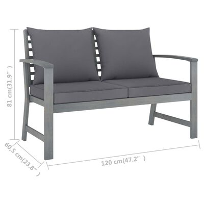 vidaXL Zahradní lavice 120 cm tmavě šedá poduška masivní akácie