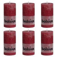 Bolsius Rustikální válcové svíčky 6 ks 130 x 68 mm vínové