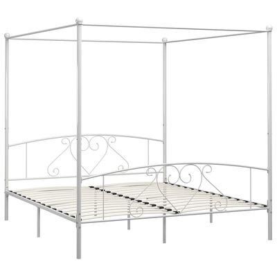 vidaXL Rám postele s nebesy bílý kovový 200 x 200 cm