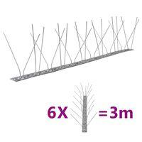 vidaXL 4řadové nerezové hroty proti ptákům a holubům sada 6 ks 3 m