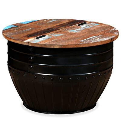 vidaXL Konferenční stolek, masivní recyklované dřevo, černý, tvar sudu