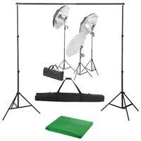 vidaXL Foto studio set se sadou světel a fotopozadím
