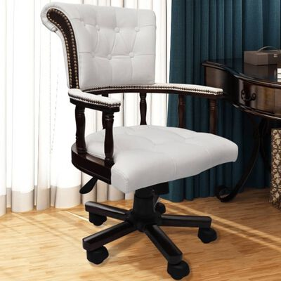 vidaXL Otočná kancelářská židle bílá