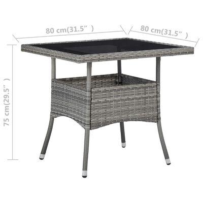vidaXL Zahradní jídelní stůl šedý polyratan a sklo